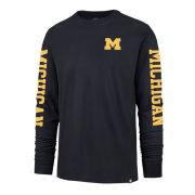 '47 Brand University of Michigan Atlas Blue Franklin Triple Threat Long Sleeve Tee