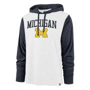 '47 Brand University of Michigan White/ Navy Power Up Callback Hooded Tee