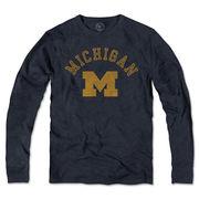 '47 Brand University of Michigan Navy Long Sleeve Scrum Tee