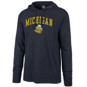 '47 Brand University of Michigan Dark Heather Navy College Vault Wolverine Long Sleeve Hooded Tee