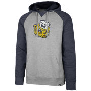 '47 Brand University of Michigan Gray/ Heather Navy College Vault Wolverine Raglan Hooded Sweatshirt