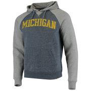 '47 Brand University of Michigan Navy/ Gray Match Raglan Hooded Sweatshirt