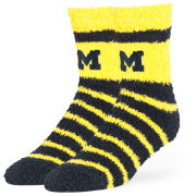 '47 Brand University of Michigan Cheshire Striped Half Crew Fuzzy Sleep Socks