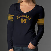 '47 Brand University of Michigan Ladies Navy Homerun Long Sleeve Tee