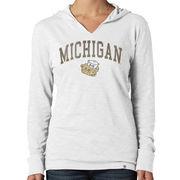 '47 Brand University of Michigan Women's College Vault Wolverine White Wash Primetime Hooded Tee