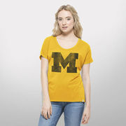 '47 Brand University of Michigan Ladies Galley Gold Round Off Tee