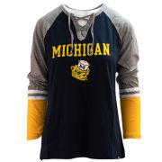 '47 Brand University of Michigan Women's ''Fast Break'' College Vault Wolverine Lace-Up Long Sleeve Tee