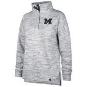 '47 Brand University of Michigan Women's Heathered ''Haze'' 1/4 Snapped Collar Pullover Sweatshirt