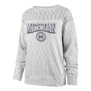 '47 Brand University of Michigan Women's Ivy Block White Out Seal French Terry Crewneck Sweatshirt