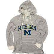 Blue84 University of Michigan Women's Striped French Terry V-Neck Hooded Sweatshirt