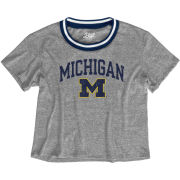 Blue84 University of Michigan Women's Gray Varsity Ringer Triblend Crop Tee