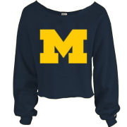 Blue84 University of Michigan Women's Navy Raw Edge Wide Neck Sweatshirt