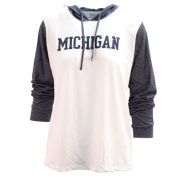 Blue84 University of Michigan Women's White with Heather Navy Long Sleeve Hooded Tee