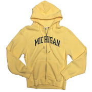 Blue84 University of Michigan Ladies Butter Yellow Sanded Full Zip Hood