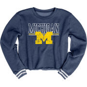 Blue84 University of Michigan Women's Navy Varsity Crop Crewneck Sweatshirt