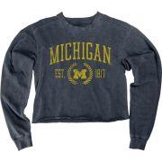 Blue84 University of Michigan Women's Indigo Dyed Crop Crewneck Sweatshirt