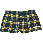 Boxercraft University of Michigan Juniors Plaid Bitty Boxer Shorts