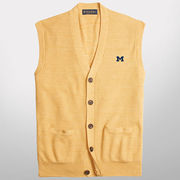 Brooks Brothers University of Michigan Yellow Supima Cotton Cardigan Vest