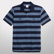Brooks Brothers University of Michigan Wide Bar Stripe Slim Fit Polo Shirt