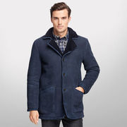 Brooks Brothers University of Michigan Navy Shearling Leather Coat