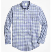 Brooks Brothers University of Michigan Blue Check Madison Fit Sport Shirt