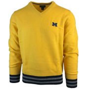 Brooks Brothers University of Michigan Yellow Shift Wool Blend V-Neck Sweater
