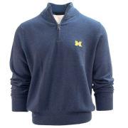 Brooks Brothers University of Michigan Heather Denim Blue BrooksTech Merino Wool Half-Zip Sweater