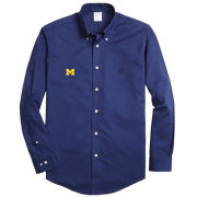 Brooks Brothers University of Michigan Solid Blue Sport Shirt