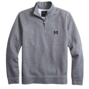 Brooks Brothers University of Michigan Gray Ribbed 1/2 Zip Pullover