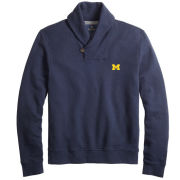 Brooks Brothers University of Michigan Navy French Terry Shawl Collar Pullover Fleece
