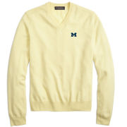 Brooks Brothers University of Michigan Light Yellow Silk & Cashmere V-Neck Sweater