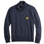Brooks Brothers University of Michigan Navy Supima Cotton Half-Zip Pullover Sweater