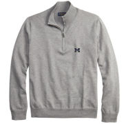Brooks Brothers University of Michigan Heather Gray Supima Cotton Half-Zip Pullover Sweater