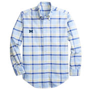 Brooks Brothers University of Michigan Regent Fit Oxford Blue and Yellow Plaid Long Sleeve Sport Shirt