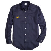 Brooks Brothers University of Michigan Regent Fit Navy Irish Linen Long Sleeve Sport Shirt