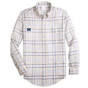 Brooks Brothers University of Michigan Regent Fit Tartan Irish Linen Long Sleeve Sport Shirt