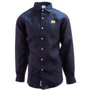 Brooks Brothers University of Michigan Navy Irish Linen Long Sleeve Sport Shirt with Spread Collar
