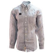 Brooks Brothers University of Michigan Navy/White Striped Irish Linen Long Sleeve Sport Shirt