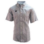 Brooks Brothers University of Michigan Regent Fit White/Navy Striped Irish Linen Short Sleeve Sport Shirt