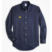 Brooks Brothers University of Michigan Regent Fit Navy Garment-Dyed Long Sleeve Sport Shirt