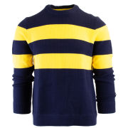 Brooks Brothers Red Fleece Navy and Yellow Striped Knit Sweater