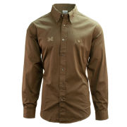 Brooks Brothers University of Michigan Regent Fit Olive Garment Dyed Long Sleeve Sport Shirt
