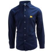 Brooks Brothers University of Michigan True Indigo Dobby Stripe Long Sleeve Sport Shirt