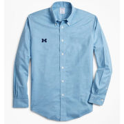 Brooks Brothers University of Michigan Heathered Light Blue Regent Fit Sport Shirt