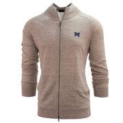 Brooks Brothers University of Michigan Natural Linen Wool Blend Full Zip Cardigan Sweater