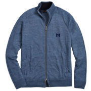 Brooks Brothers University of Michigan Jean Blue Linen and Wool Full Zip Sweater