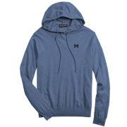 Brooks Brothers University of Michigan Jean Blue Silk Cotton Blend Hooded Sweater