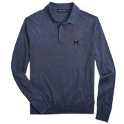 Brooks Brothers University of Michigan Blue Silk and Cotton Long Sleeve Polo Sweater