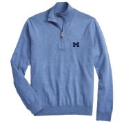 Brooks Brothers University of Michigan Blue Supima Cotton Half-Zip Sweater