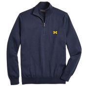 Brooks Brothers University of Michigan Navy Supima Cotton 1/2 Zip Pullover Sweater